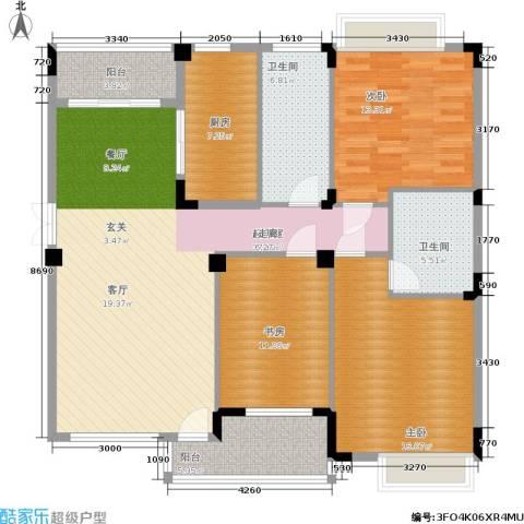 亲亲家园3室0厅2卫1厨148.00㎡户型图
