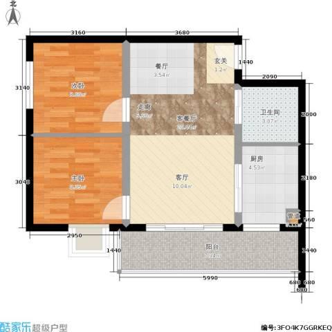 金洲城2室1厅1卫1厨60.85㎡户型图