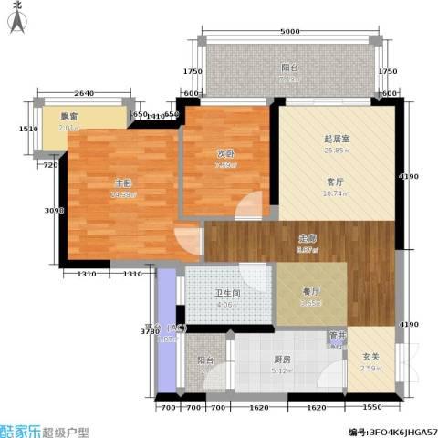 星际豪庭2室0厅1卫1厨83.00㎡户型图