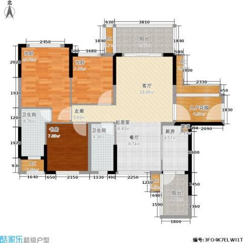 建大领秀城3室0厅2卫1厨99.00㎡户型图