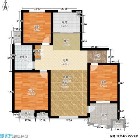 清流水韵3室1厅1卫1厨114.00㎡户型图