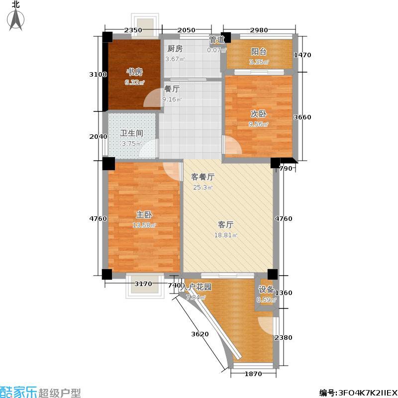 水仙都市三房两厅一卫一入户花园约91.2㎡户型3室2厅1卫