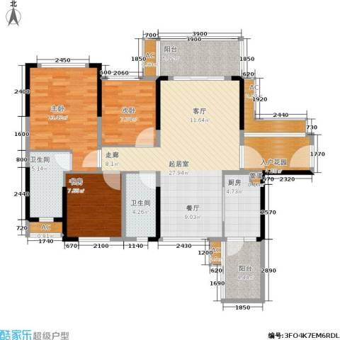 建大领秀城3室0厅2卫1厨98.00㎡户型图