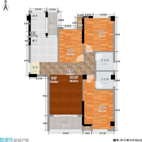 优山美地3室1厅2卫1厨107.00㎡户型图