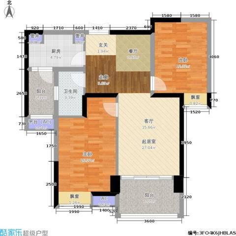 星际豪庭2室0厅1卫1厨87.00㎡户型图