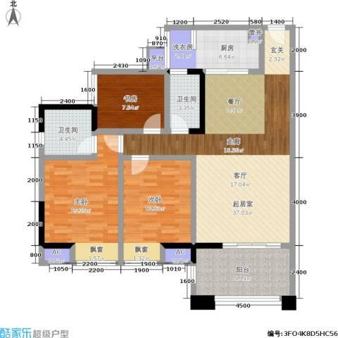 博雅海润广场3室0厅2卫1厨144.00㎡户型图
