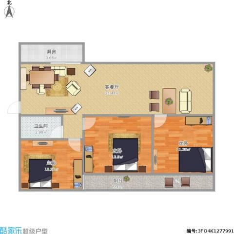 鑫泉花园3室1厅1卫1厨88.00㎡户型图