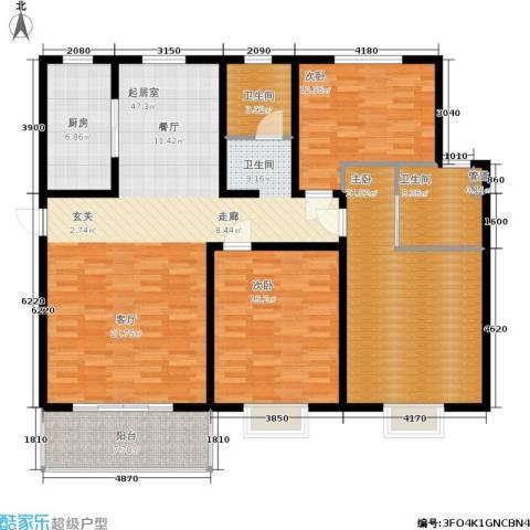 西城名邸3室0厅2卫1厨138.00㎡户型图