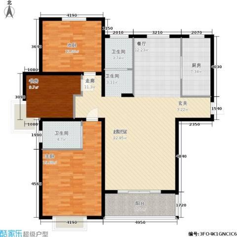 西城名邸3室0厅2卫1厨134.00㎡户型图