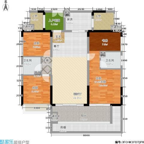 中航公元3室1厅2卫1厨122.58㎡户型图