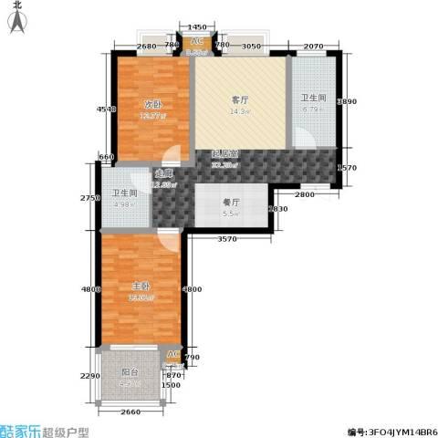 中铁・尚都城2室0厅2卫0厨89.00㎡户型图