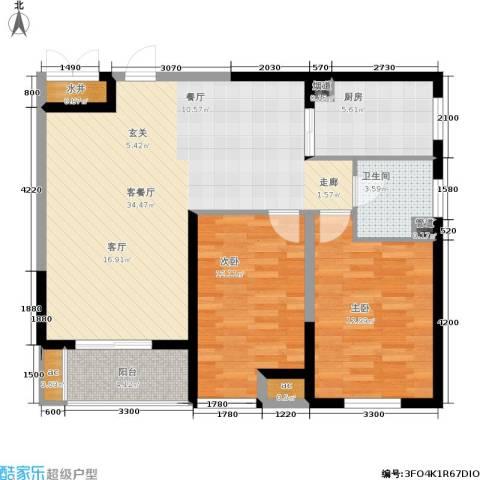 上城上林苑2室1厅1卫1厨107.00㎡户型图