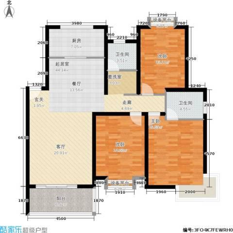 珍贝金鼎国际3室0厅2卫1厨132.00㎡户型图
