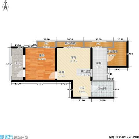 西溪诚园1室0厅1卫1厨71.00㎡户型图