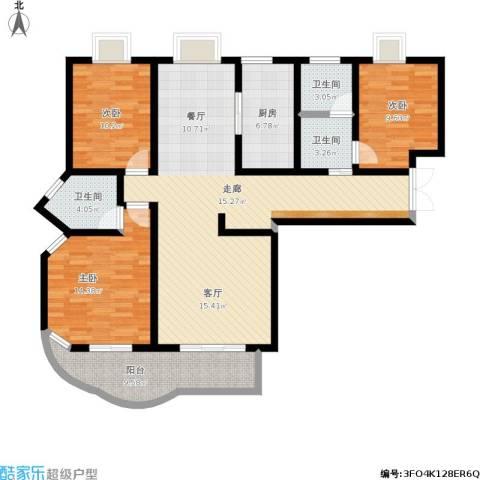 紫麟苑3室1厅3卫1厨151.00㎡户型图