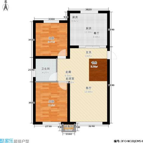 香榭丽花园2室0厅1卫1厨92.00㎡户型图