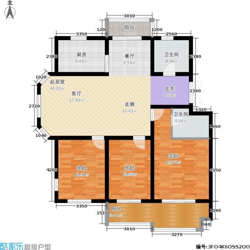 天洁国际雅典城127.00㎡E户型3室2厅2卫