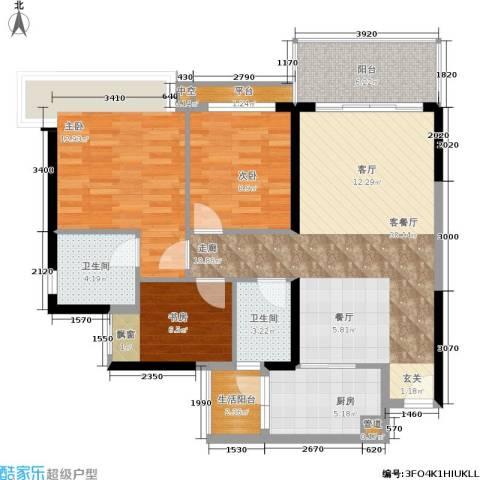 幸福码头3室1厅2卫1厨91.00㎡户型图
