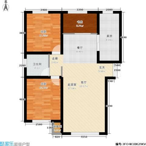 香榭丽花园3室0厅1卫1厨112.00㎡户型图