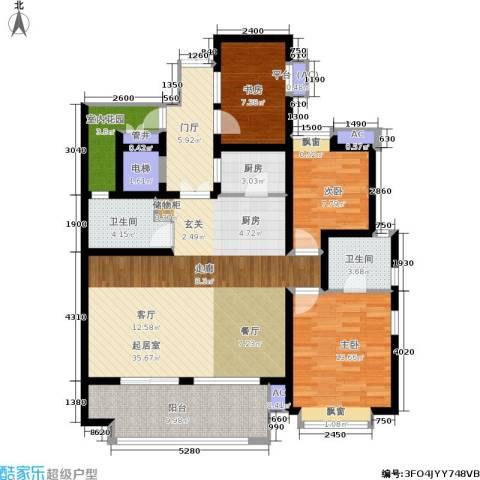 长发都市诸公3室0厅2卫1厨115.00㎡户型图