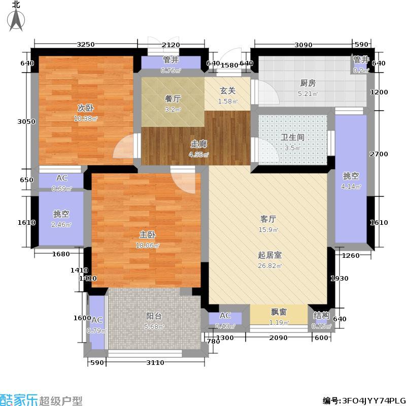江月府87.00㎡2号楼高层G2户型