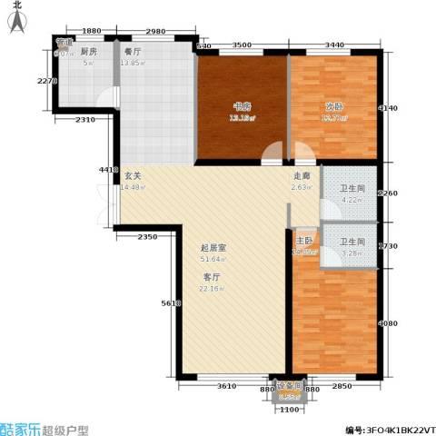香榭丽花园3室0厅2卫1厨146.00㎡户型图