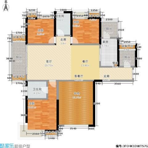 绵阳CBD万达广场3室1厅2卫1厨134.00㎡户型图