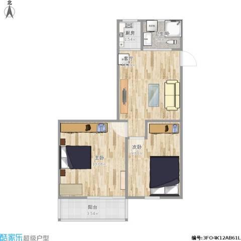 友谊社区2室1厅1卫1厨76.00㎡户型图