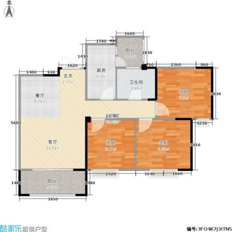 春天印象3室0厅1卫1厨87.00㎡户型图
