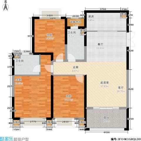 中南世纪花城3室0厅2卫1厨128.11㎡户型图
