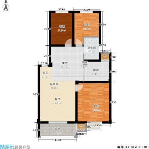 伊美翡翠城3室0厅1卫1厨128.00㎡户型图