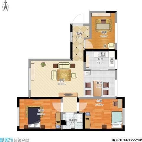 华茂中心3室1厅1卫1厨95.00㎡户型图