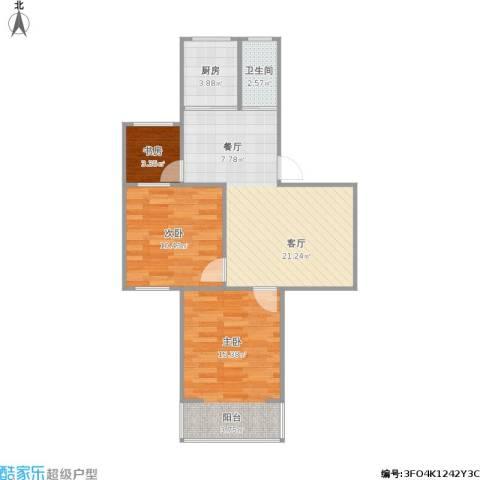 洪庙巷小区3室1厅1卫1厨77.00㎡户型图