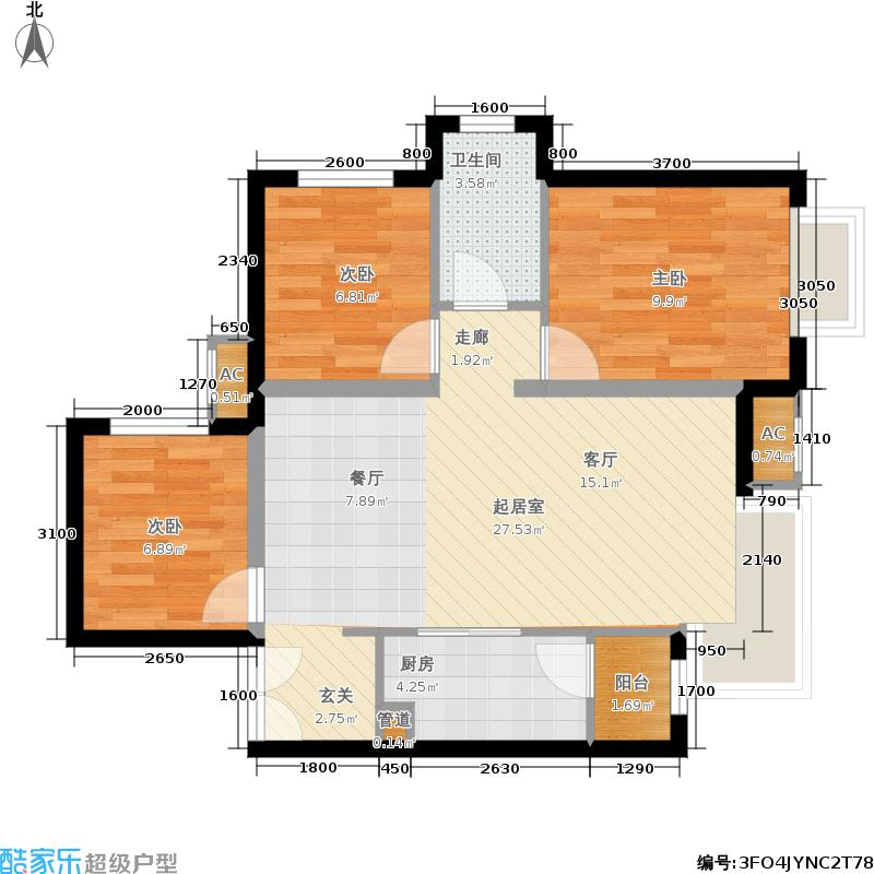 天津津南新城88.72㎡二期B区12#、13#标准层05户型