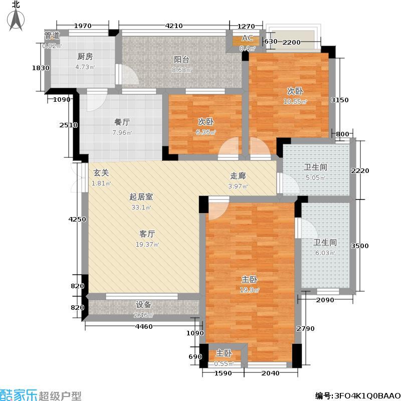 融汇半岛香山美墅117.00㎡洋房七层户型3室2厅
