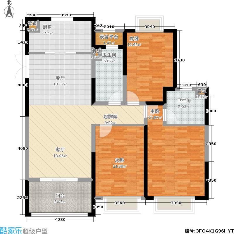 中南世纪花城125.00㎡30#楼B12户型