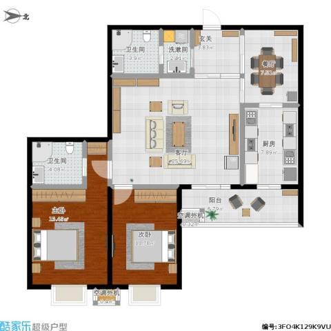 天通・公园里2室2厅2卫1厨114.00㎡户型图