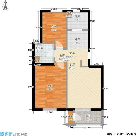 龙城帝景2室0厅1卫1厨80.00㎡户型图