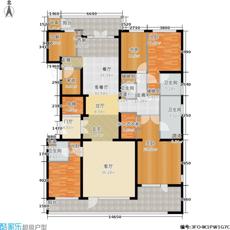 五矿万科·如园290.00㎡南区6、7号楼A标准层平面图户型4室2厅