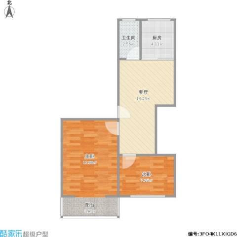 马鞍山路小区2室1厅1卫1厨62.00㎡户型图