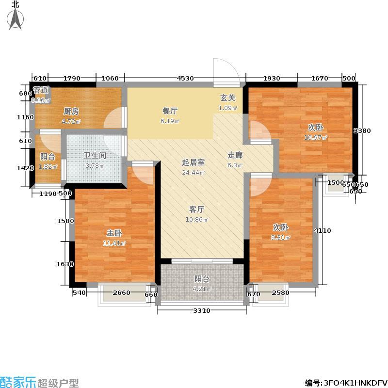 恒大江湾104.00㎡三室B5栋1单元户型3室2厅