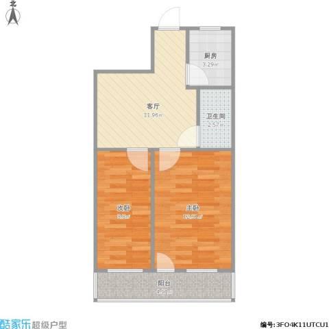 进香河2室1厅1卫1厨60.00㎡户型图