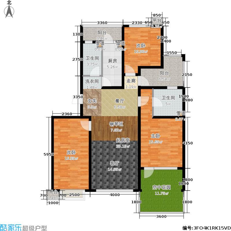 北一街8号(高教新城)134.62㎡北一街8号惠风园9号楼D奇数层户型3室1厅