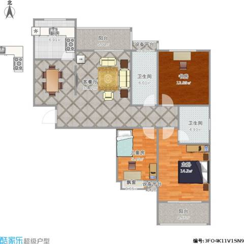 天香心苑3室1厅2卫1厨132.00㎡户型图