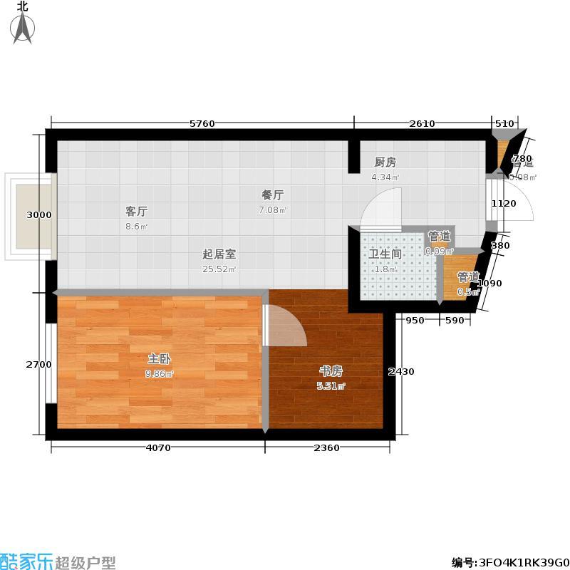 北一街8号(高教新城)58.70㎡高教新城惠风园8号楼L6标准层户型1室1厅