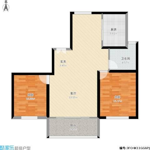 宝华海尚郡领2室1厅1卫1厨101.00㎡户型图