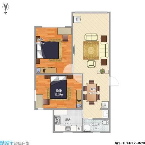 齐河花苑2室1厅1卫1厨73.00㎡户型图