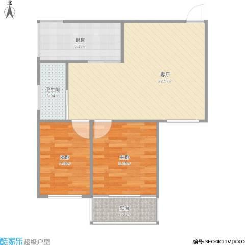 凤凰花园城2室1厅1卫1厨70.00㎡户型图