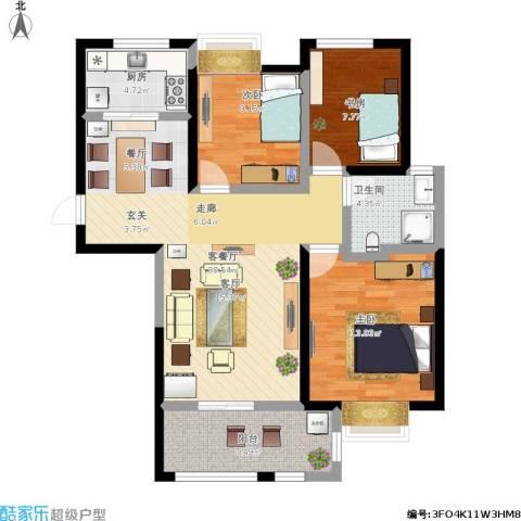 高力金色果缘3室1厅1卫1厨110.00㎡户型图