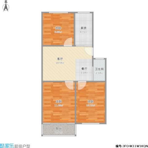 康居里3室1厅1卫1厨74.00㎡户型图